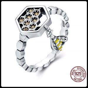 RE STOCK IN! Enamel Bee Honeycomb Ring